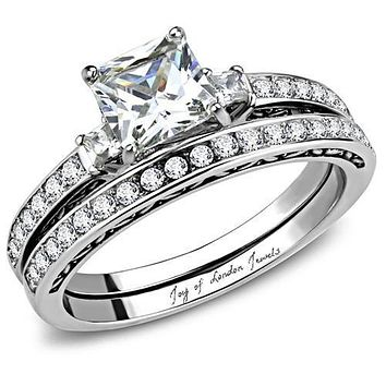 A Perfect 1.9CT Princess Cut Russian Lab Diamond Bridal Set Wedding Band Ring