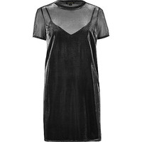 Grey metallic sheer T-shirt dress - day / t-shirt dresses - dresses - women