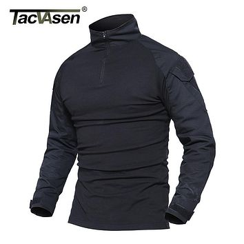 TACVASEN Male Camouflage T-shirts Army Combat Tactical T Shirt Military Men Long Sleeve T-Shirt Hunt T-shirts WHFE-022-2
