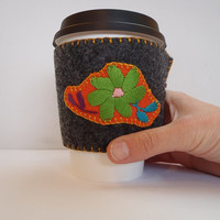 Coffee Sleeve Cozy Drink Wrap Reusable Ecofriendly Drink Sleeve Felt Grey Orange Floral Echochic Gift for Her Mothers day Gift