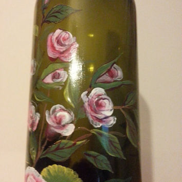 Hand painted Roses on the bottle. / Bottle Art /Hand Painted Bottle/ Home Decor / Decorative bottle/ Acrylic / Original / FREE SHIPPING!