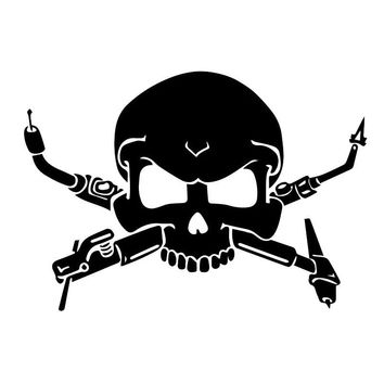 12.7*8.9CM Interesting Welders Skull Car Stickers Stylish Motorcycle Vinyl Decals Black/Silver C7-0940
