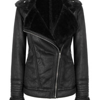 Black Coat with Faux-shearling Collar