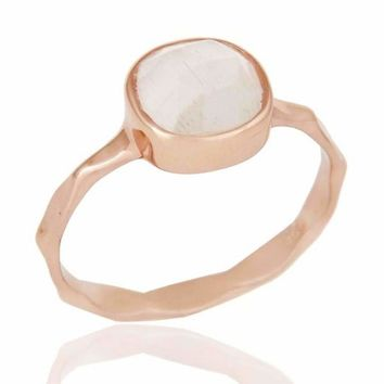 18k Rose Gold Sterling Silver White Moonstone Ring