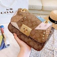 Coach High Quality Popular Women Leather Metal Chain Rivet Crossbody Satchel Shoulder Bag