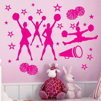 CHEER cheering squad Stars Vinyl Wall Decor Cheerleaders Mural Decal Art Vinyl Cut Home Decor Wall Sticker