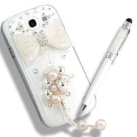 [Aftermarket Product] Deluxe Clear Bling Bowtie Protective Back Rear Case Cover+Ball Pen Stylus+Screen Protector For Samsung i9300 Galaxy S3 Sprint L710 Verizon I535 T-Mobile T999 att I747