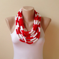 Red white   infinity scarf chain scarf circle scarf loop scarf cozy scarf woman accessory gift