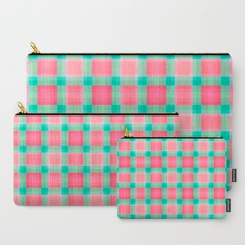 Watermelon Mint Geo Plaid Carry-All Pouch by Lisa Argyropoulos | Society6