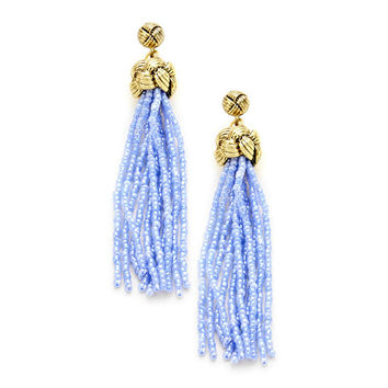 "Blue 3"" Seed Bead Tassel Knot Earrings, Dangle, Statement Earrings, Long Tassel Earrings, Gold Knot Earrings, Gift for Her"