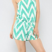 Mint & White Chevron Romper