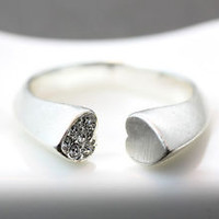 Love Heart Profile Ring One Side Crystal Size Adjustable Open Ring Best Friend