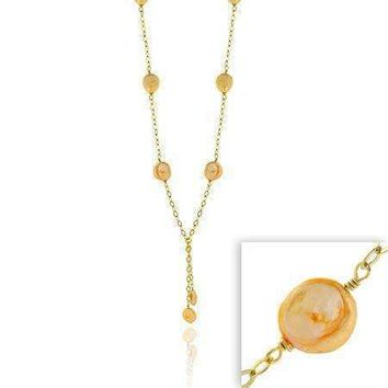 18K Gold over Sterling Silver Freshwater Cultured Peach Coin Pearl Lariat Necklace