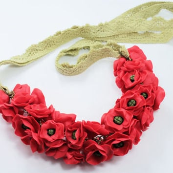 Art Poppies Necklace, Red, Flower Necklac Statement Necklace Wedding Party Jewelry