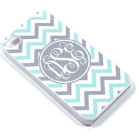 Monogram iPhone 5, 4 Case - Samsung Galaxy s2 s3 s4 note, Ipod Touch 4, 5, Blackberry - Zig Zag Chevron - mint grey - 0002
