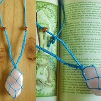 Macrame Knotted Rose Quartz Hemp Necklace