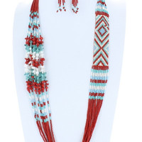 AZTEC Trendy Seedbead Necklace and Earrings Set Beaded Fashion Turquoise Red White Bead Costume Jewelry Gift