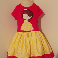 Beauty & The Beast Belle  Appliqued T Shirt Dress Available from 12m to 14/16