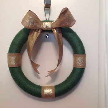 Jute twine wreath -- Green and gold wreath -- home decor -- front door wreath- Christmas Wreath - USF colors
