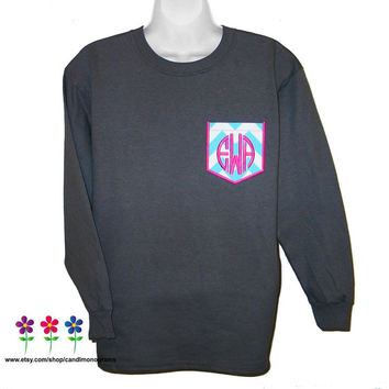 Youth Girl's Monogram Pocket T-Shirt Chevron Real Pocket Tee Long Sleeve ~ Custom Embroidered Personalized Monogrammed ~ Childs Kids T-shirt