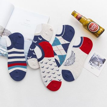 5 pairs 2018 Sock slippers men summer color England men socks print invisible NO SHOW socks male cotton high quality happy socks