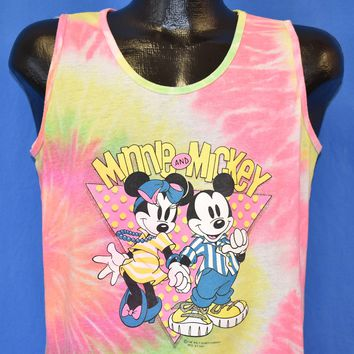 80s Mickey & Minnie Mouse Tie Dye Glitter Tank Top t-shirt Large