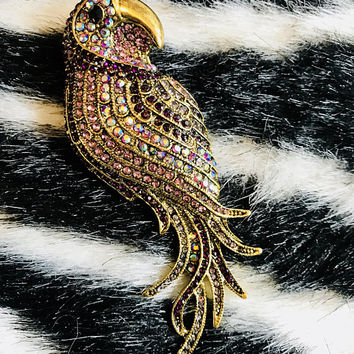 Beautiful & Colorful Rhinstone Parrot of Antiqued Goldtone
