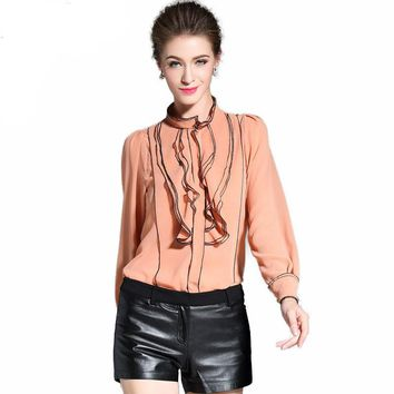 Real Silk Blouse Womens Stand Collar Long Sleeve Striped Blusas Elegant Ruffled Blouse