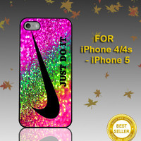 Nike Just Do It  Rainbow Sparkle Glitter Printed  - Photo on Hard Cover - For iPhone Case ( Select An Option )