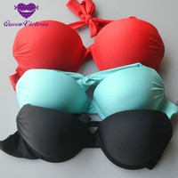 The original factory Three times thicker cup PUSH UP women&girl's BIKINI BRA underwire bikini top RED BLACK  Lakeblue swimwear