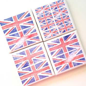 Union Jack Coasters, Ceramic Tile Set, Drink Coaster, British Flag, English Flag, Mod Podge Coasters, Amy Peppler Adams