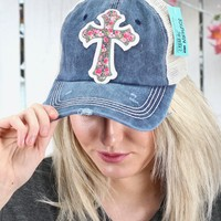 Leopard + Floral Cross Patch Mesh Back Cap {Navy}