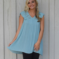 Misty Blue Pleated Lace Top