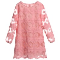 Pink Embroidered Cotton Dress