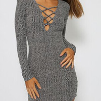 Gray Plunge Neck Strappy Front Long Sleeve Bodycon Knit Dress