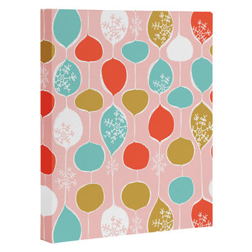 Heather Dutton Snowflake Holiday Bobble Chill Pink Art Canvas