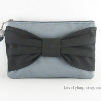 Big Bow Gray Clutch, Gray and Black Clutch - Bridesmaid Gift Bag,Wedding Gift ,Cosmetic Bag Make Up, Camera Bag,Zipper Pouch Wristlet