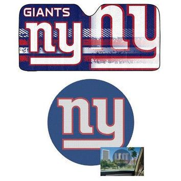 Licensed Official NFL New York Giants Car Truck Windshield Folding SunShade & Perforated Decal