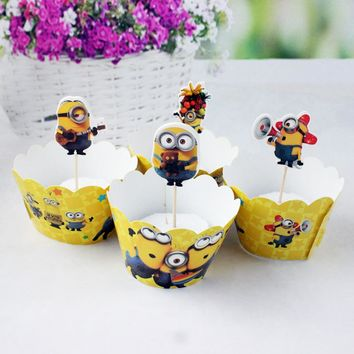 24pcs=12pcs toppers+12pcs Wrappers Baby Shower Cake Girls Favors Happy Birthday Party Minions Theme Cupcake Decoration Supplies