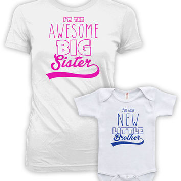 Big Sister Little Brother Shirts I'm The Awesome Big Sister I'm The New Little Brother Big Sister Little Brother Set Bodysuit MAT-763-764