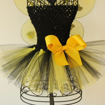 Bumblebee tutu dress costume - Halloween costume, bumblebee costume, bumblebee tutu, bumblebee birthday dress, bumblebee tutu dress