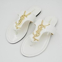 YSL Popular Ladies Slippers Casual Flat Sandal Slipper Shoes White