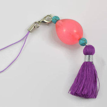 Oval Charm Keychain - Rare Key Item Cell Phone Charm - Pokemon Inspired Keychain - Pink Egg and Tassel Keychain - Gamer Gift