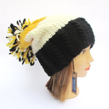 Boston Bruins hat - hand knit slouchy beanie hat with large pom pom - black white and yellow chunky knit hat - Bruins ice hockey unisex hat
