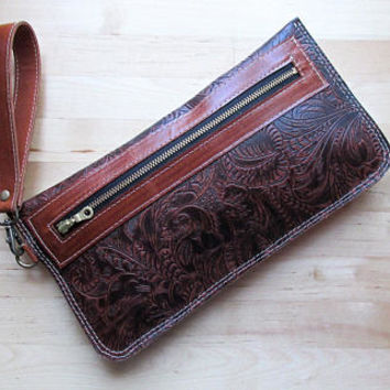 Leather wristlet clutch, iphone wallet case, pouch, embossed leather clutch, leather clutch bag, clutch purse Vintage Cherry Brown