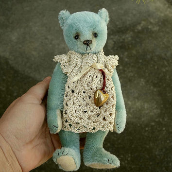 Good Charlotte, OOAK Blue Mohair Artist Teddy Bear Girl from Aerlinn Bears