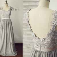 On sale Gray Lace Chiffon Long Bridesmaid Dress Cap Sleeves Open Back Backless Prom Dress