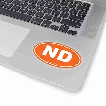 North Dakota NE Euro Oval Sticker SOLID ORANGE