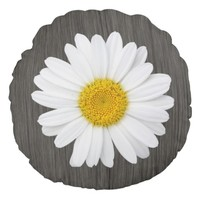 Country Rustic Daisy Round Pillow