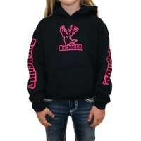 Pullover Hoodie - Black with Pink Logo